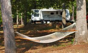 Image of campsite with travel trailer and hammock