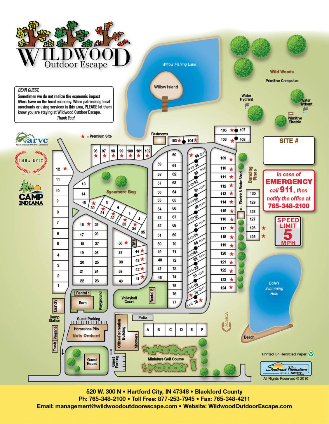 Image of campground layout map with sites numbered