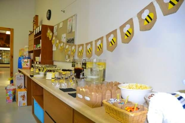 Image of meeting room decorated for baby shower