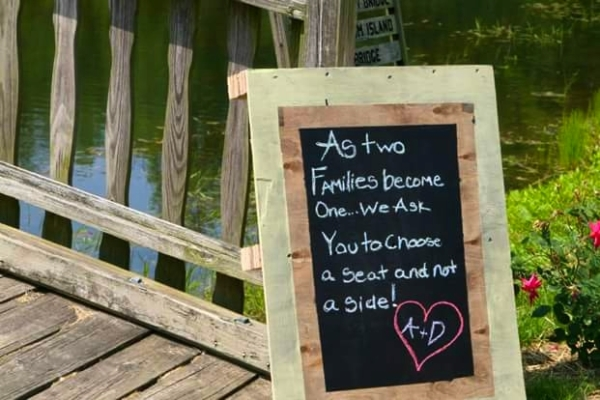 Image of a sign welcoming guests to wedding reception