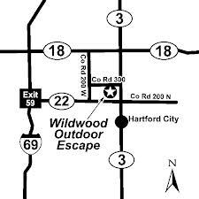 Image of simple map of campground location from interstate 69