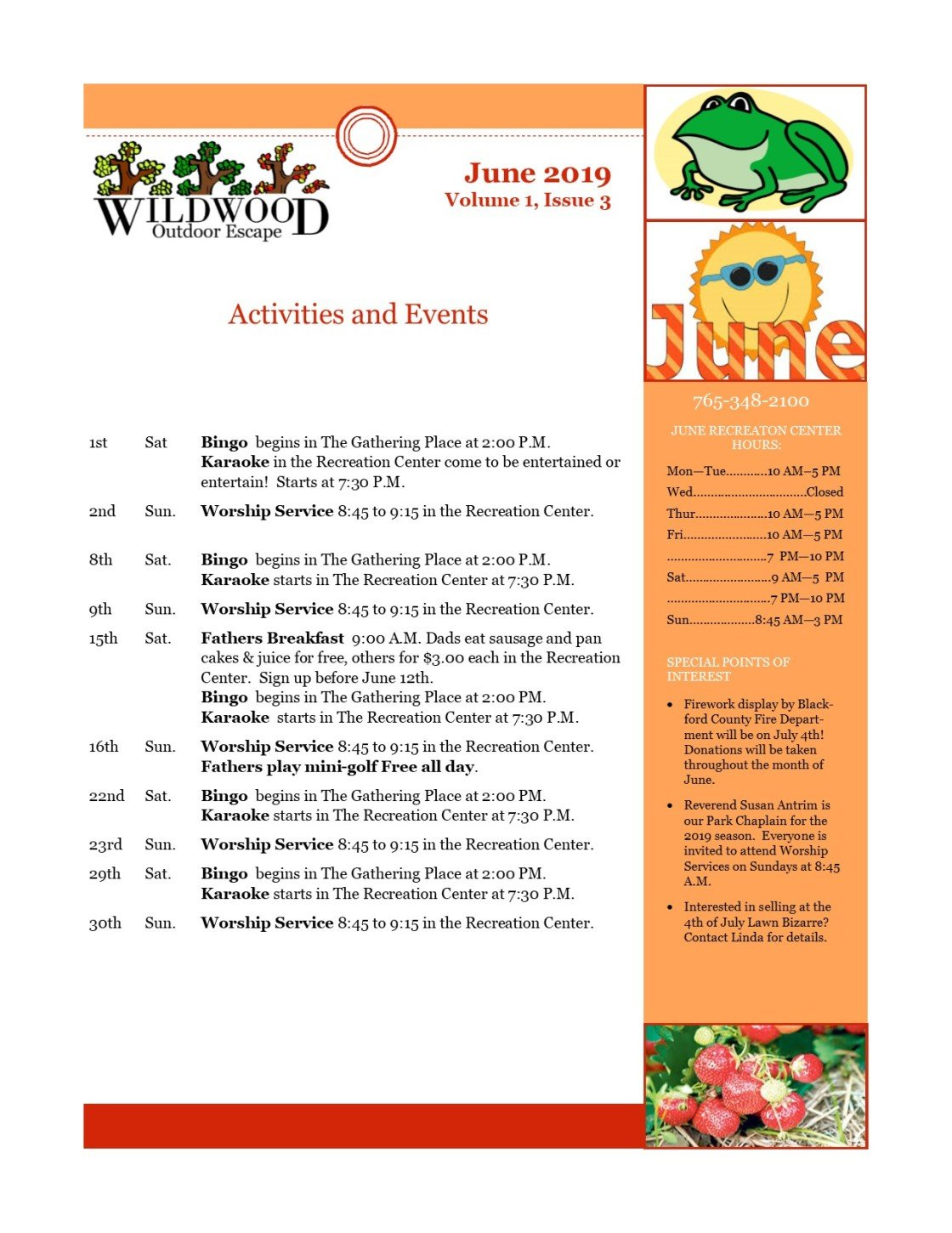 Image of activities and events for June